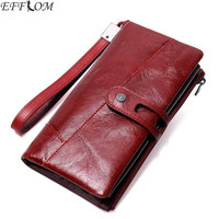 Red Multifunctional Genuine Leather Wristlet Wallet Female Fashion Hasp Phone Purse Wallet Long Cowhide Women Wallets Clutch Bag