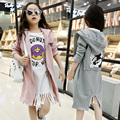 5-16Years Old Children Long T-shirt  Fashion Cool Tassels Girls Clothing Spring Long Sleeves Coat Girls O-Neck Cartoon Coat