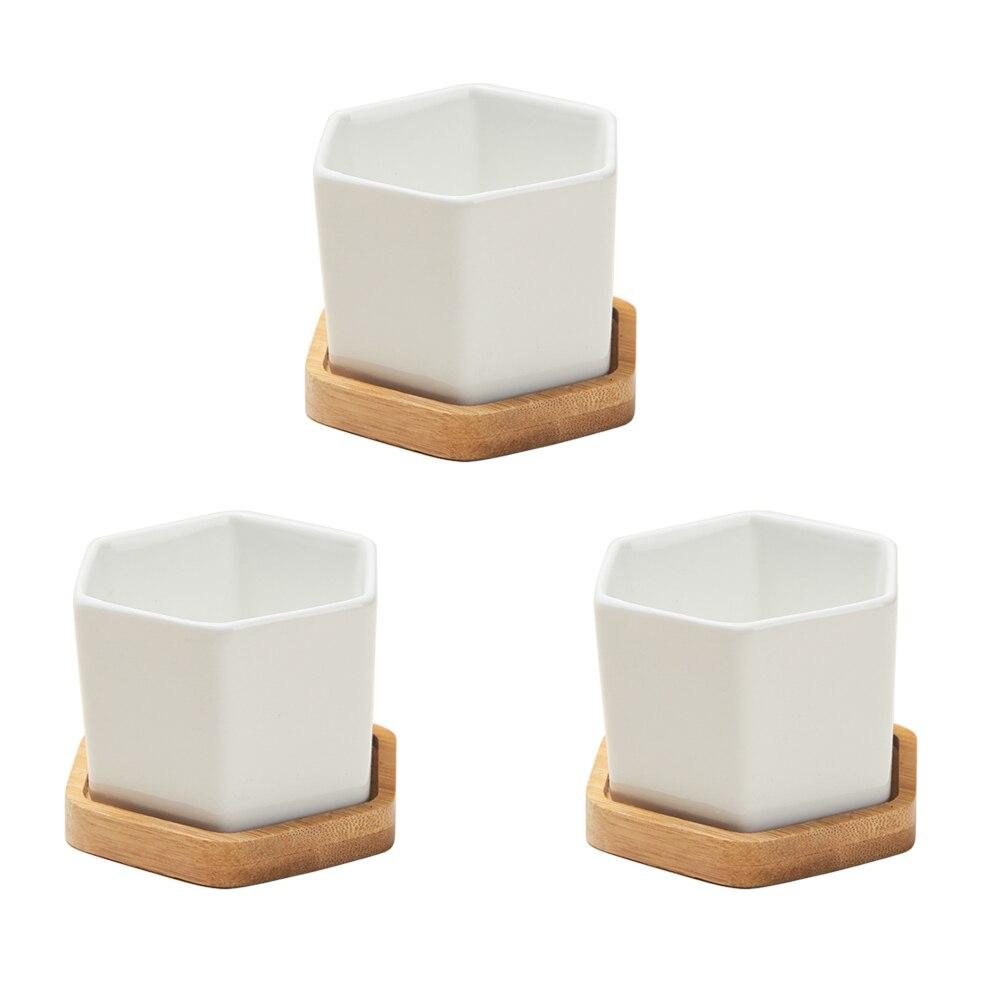 3 Sets of Small White Ceramic Hexagonal Succulent Containers Plant Pot Cactus Planter Pot with Bamboo Tray маленькие горшки для кактусов