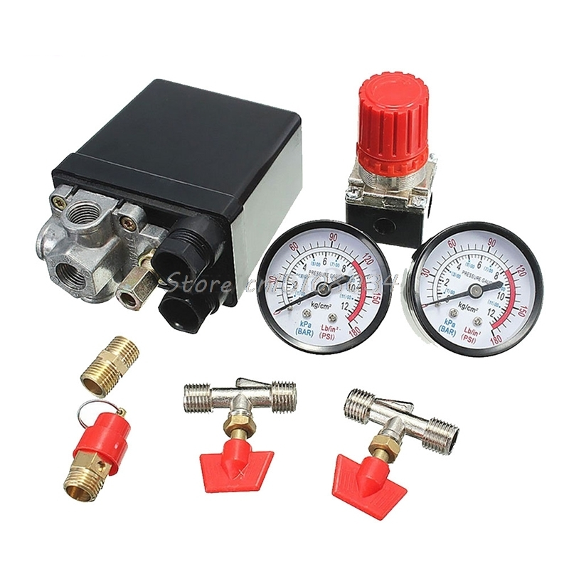 120PSI Air Compressor Pressure Valve Switch Manifold Relief Regulator Gauges G08 Drop ship male thread 3 way metal air compressor check valve gold tone g08 drop ship