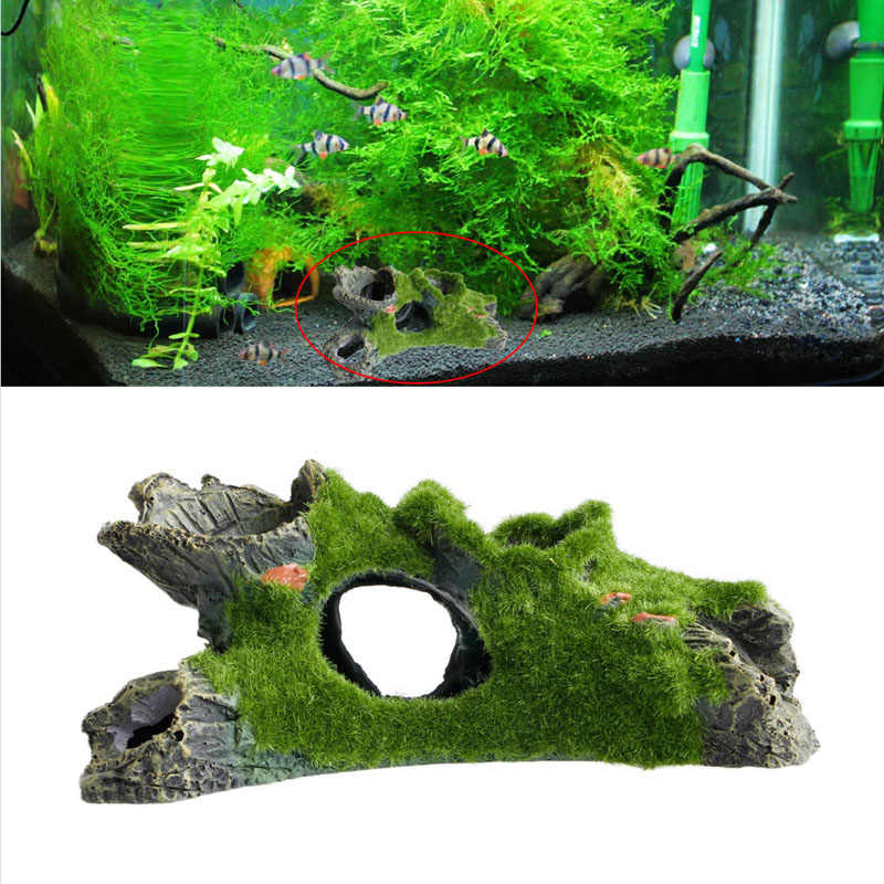 New Aquarium Tree House Decor Mountain View Moss Fish Tank Ornament Decoration Ornament Colorful