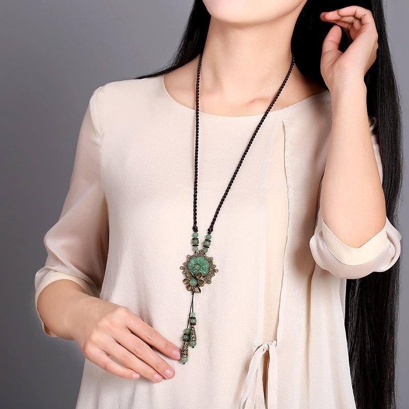 Цепочки и ожерелья длинный абзац свитер цепи Ретро ювелирные изделия Tanglin нефрита кулон женский в этническом стиле кулон аксессуары зелены...