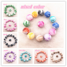 Wholesale 8 / 10 12mm Imitation Natural Stone Round Acrylic Colored Beads, Beads DIY Jewelry Makeing Production
