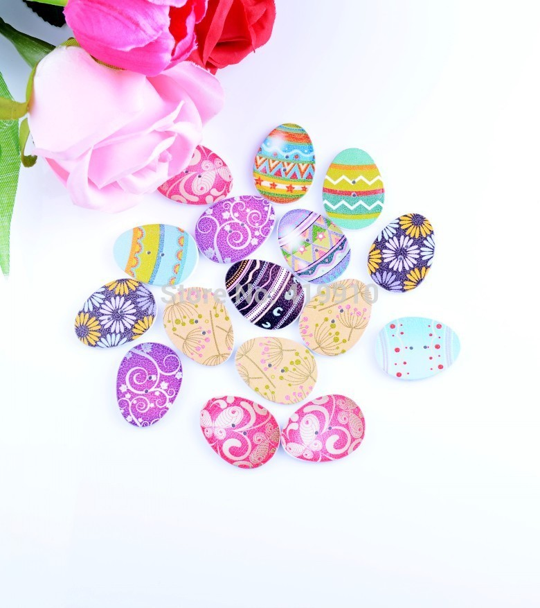 Free shipping -2015 New 100PCs Random Mixed Easter Colored Eggs Pattern Wood Painting Sewing Buttons Scrapbooking 23x31mm,D2701 button