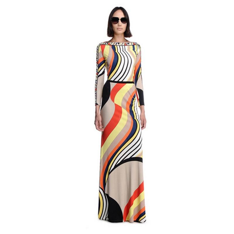 e2014b8ce51 New Arrival Elegant Striped Printed Stretch Jersey Long Sleeve Slim Maxi  Dress Long Dress 151209EP598c