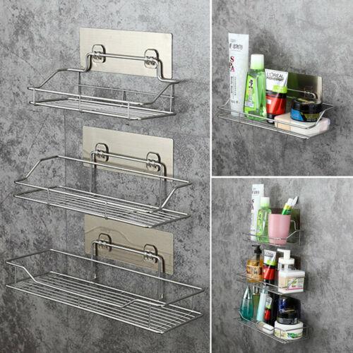 Stainless Steel Shelf Shower Basket Bathroom Wall Mounted Storage Rack Adhesive  Toothbrush Stuffs Bathroom Storage Organization