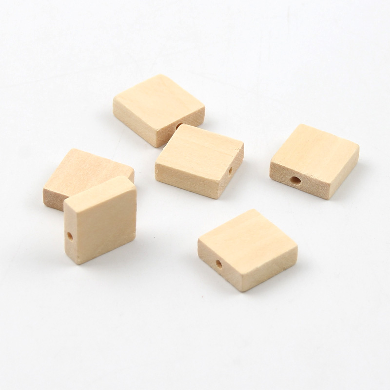 30PCS Square Wood Color Wooden Beads DIY Square Flat Beads Handmade Jewelry Accessories Wholesale 15mm(China)