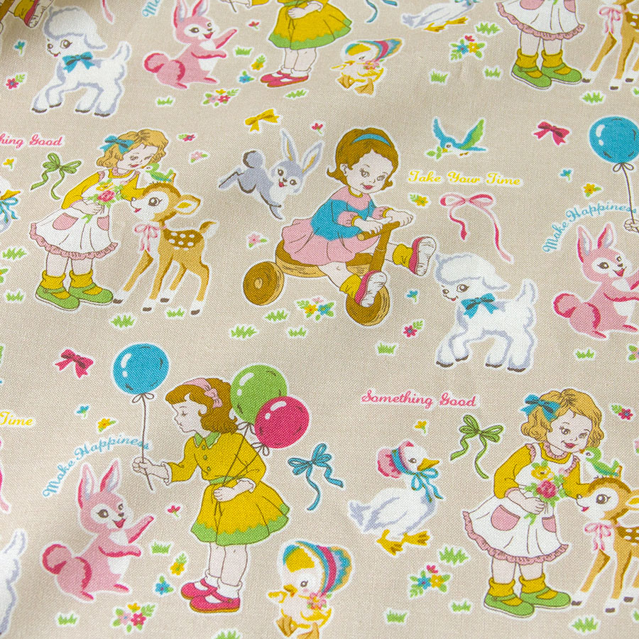 50cm*110cm Japanese Kokka Cotton Fabric Quilting Textile Cloth for Sewing DIY patchwork Vintage Child A