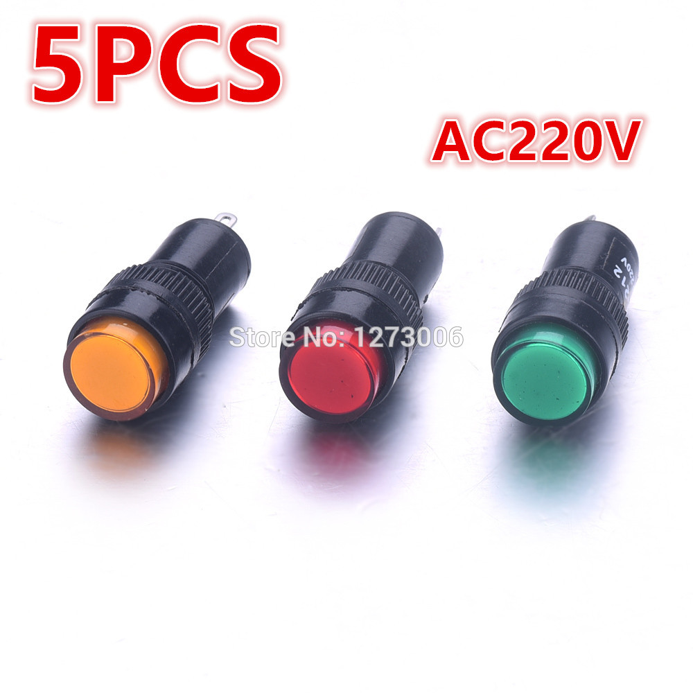 Useful Hot 5PCS Mini LED Signal Indicator Light For Car Anticipating Emergency Signals Lamp AC 220V NXD-212 IP65 Car-Stying