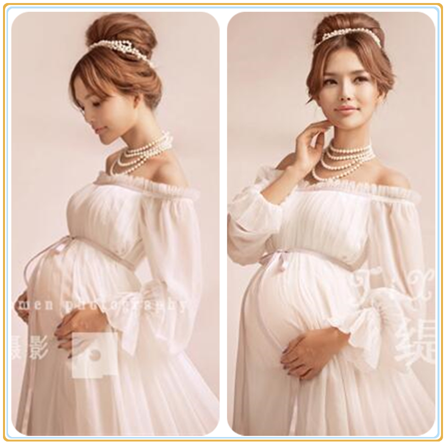 White Maternity Gown Lace Dress Photography Props Fancy Pregnancy Maternity Photo Shoot Long Dress Nightdress 2016 New Arrival luxury sequins chiffon maternity maxi gown long party evening dress photography props pregnancy photo shoot studio clothing