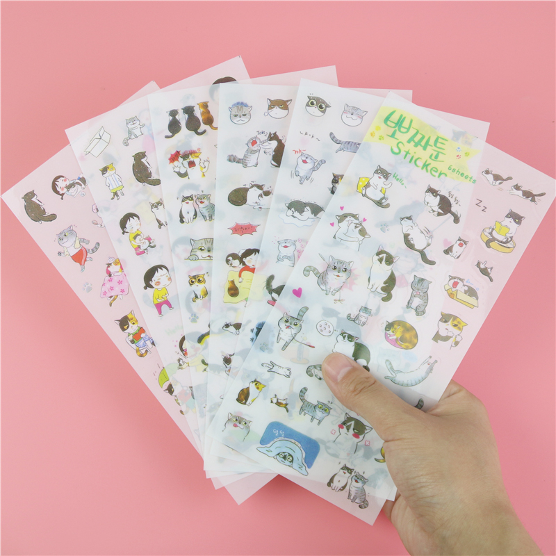 6 Pcs / Pack Korea Stationery Wholesale Cute Cat Transparent Background Sticker Diary Decorative Stickers