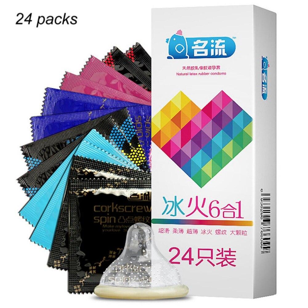 MingLiu 24pcs Mixed Types Condoms Super Thin Adult Condones Ice Fire Thread G spot Stimulation Penis