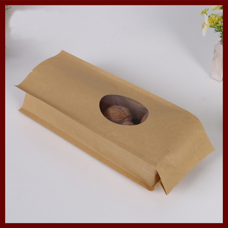10*22+6 100pcs kraft paper Organ bags with window for gifts sweets and candy food tea jewelry retail package paper bag