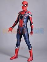 Demir Homecoming Spiderman Kostüm Cosplay 3D Baskı Zentai Demir Örümcek-adam Film Kostümleri Spidey Demir Suit ücretsiz kargo
