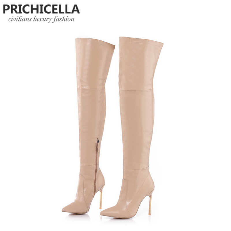 PRICHICELLA Demir topuk hakiki deri kahverengi kadın uyluk yüksek çizmeler yüksek topuklu uzun gladyatör patik size34-42