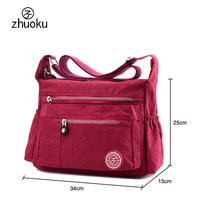ZHUOKU Luxury Women Messenger Bag Waterproof Nylon Shoulder Bags Ladies Bolsa Feminina Travel Bag Women's Crossbody Bag ZK6046(China)