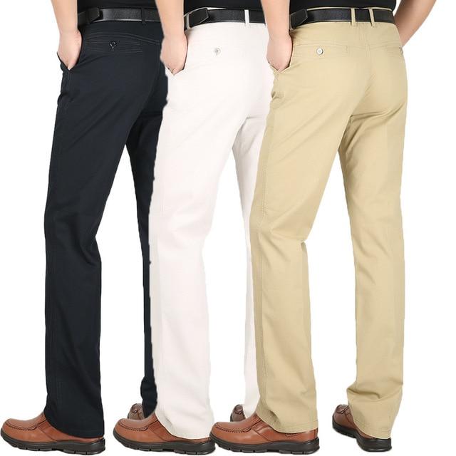Men S Suit Pants Spring Summer Cotton Thin Loose High Waist Men