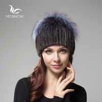 2019 nuevos sombreros de invierno de piel de visón a la moda para mujer, pompones de zorro, esponjosos, sombreros de punto informales para mujer, sombrero femenino gorros