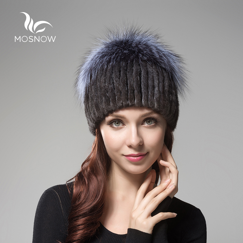 MOSNOW 2017 New Fashion Mink Fur Winter Hats For Women Fox Fluffy Pompons Bow Casual Knitted Women's Hats Female Bonnet Beanies