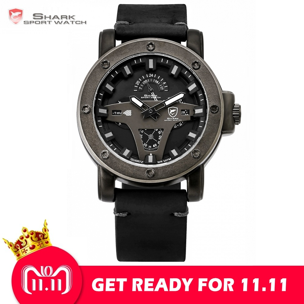 Greenland Shark 2 Series Sport Watch Creative Design Black Date Crazy Horse Leather Quartz Men Watches Masculino Relogio /SH452 greenland shark 2 series sport watch new design red date crazy horse leather quartz clock men watches reloj hombre gift sh454