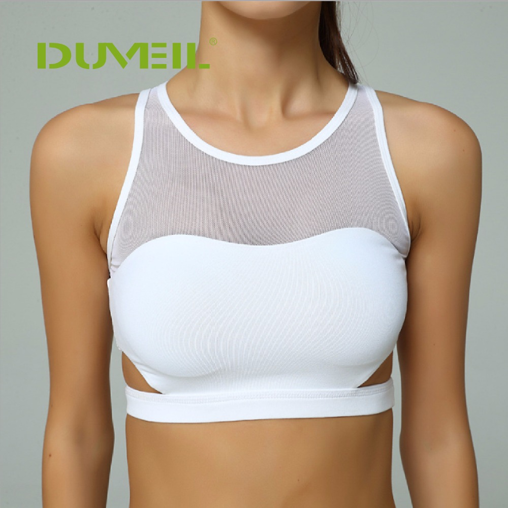 5dc22c145fb26 White Women Body building Sports Bra grenadine Split Fitness Bra  Compression Workout Tops Sleeveless Vest Quick Dry Underwear -in Sports Bras  from Sports ...