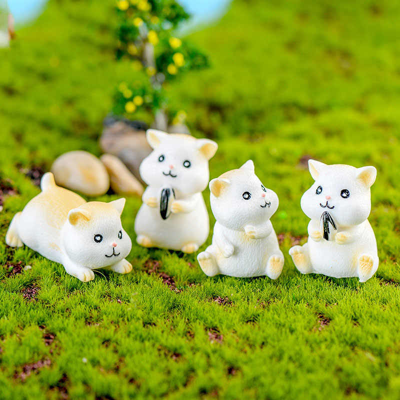 4 Pcs Hamster Bonito Simulação Animais Estatueta Decoração Do Jardim Moderno De Fadas Em Miniatura de Plástico Figuras PVC Estátua