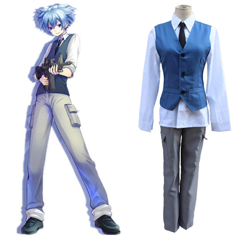 Japanese Anime Assassination Classroom Shiota Nagisa School uniform Cosplay Costumes Vest + shirt + pants + Tie 4pcs suit set