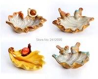 الإبداعية ورقة شكل الخزف الزخرفية لوحات الفاكهة طبق المجوهرات تخزين صواني منفضة الحلزون الطيور السيراميك تمثال الحرفية هدية