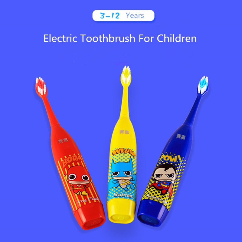Seago Sonic Electric Toothbrush For Children Kids Cartoon Pattern Teeth Tooth Brush Washable 2 Head Battery Supply Toothbrush image