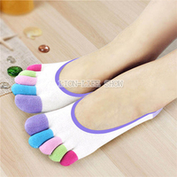 Womens Girls Pure Cotton Five Fingers Toe Ankle Socks Rainbow Color Comfort New Styles Silicone Slip