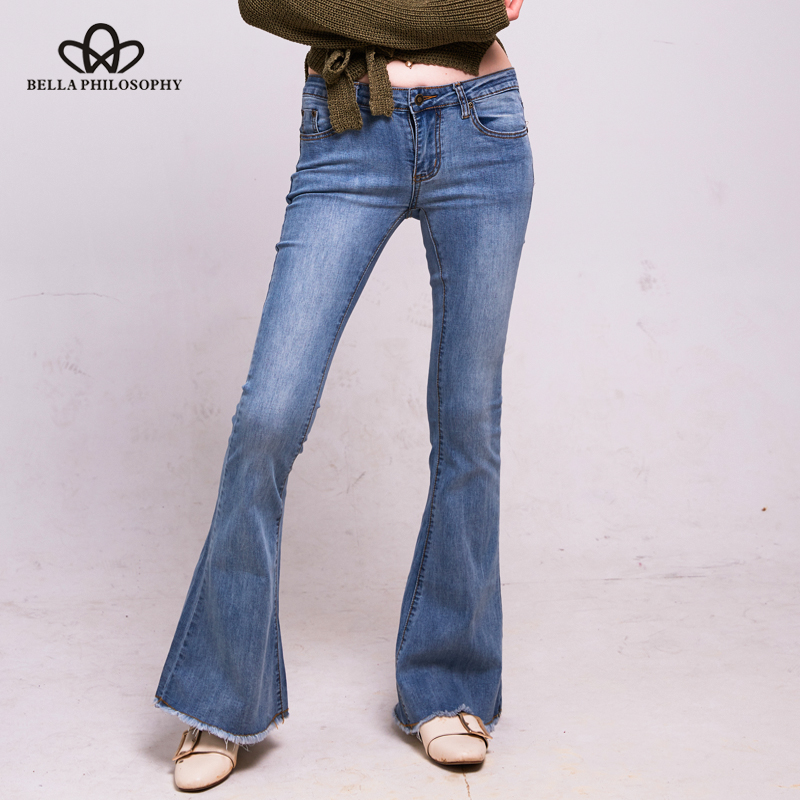 Bella filosofia 2018 outono magro flare denim calça jeans feminino luz azul calças de brim femininas retro casual jeans para mulher