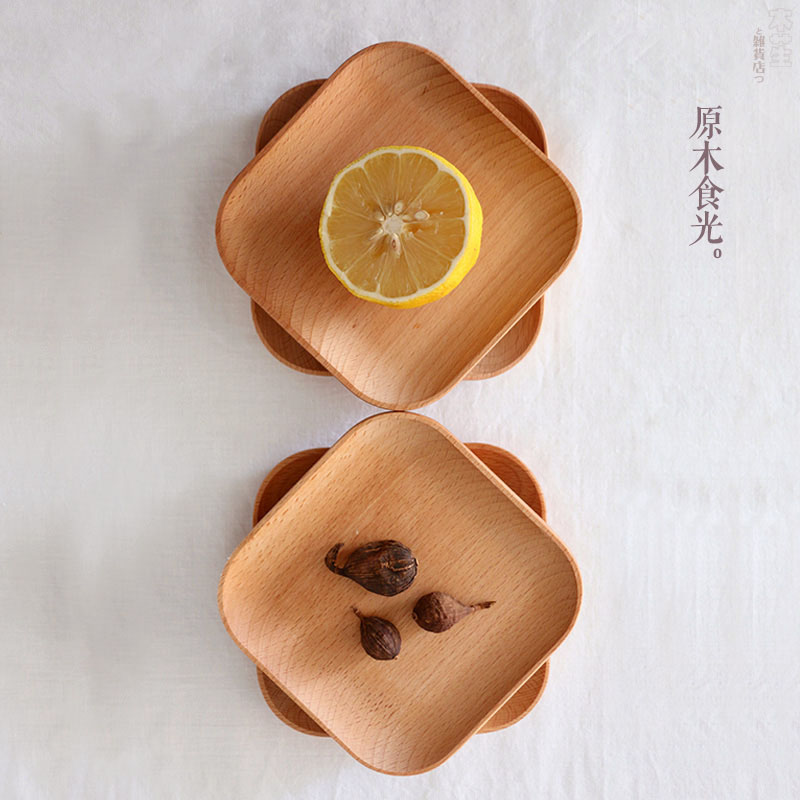 Wood Tableware Fruit Plate Dish Square Wooden Dishes&Plates Eco-Friendly Small Size Plate Creative Home Fruit Pate