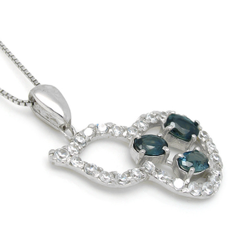 Collier Collares Qi Xuan_Dark подвеска с синим камнем шейный_ настоящий шейный_ Качество прямые ed_производитель прямые продажи