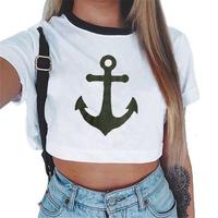 Awaytr Women Summer Anchor Printed Crop Top 2017 Short Sleeve Cotton T Shirts Brand New Casual
