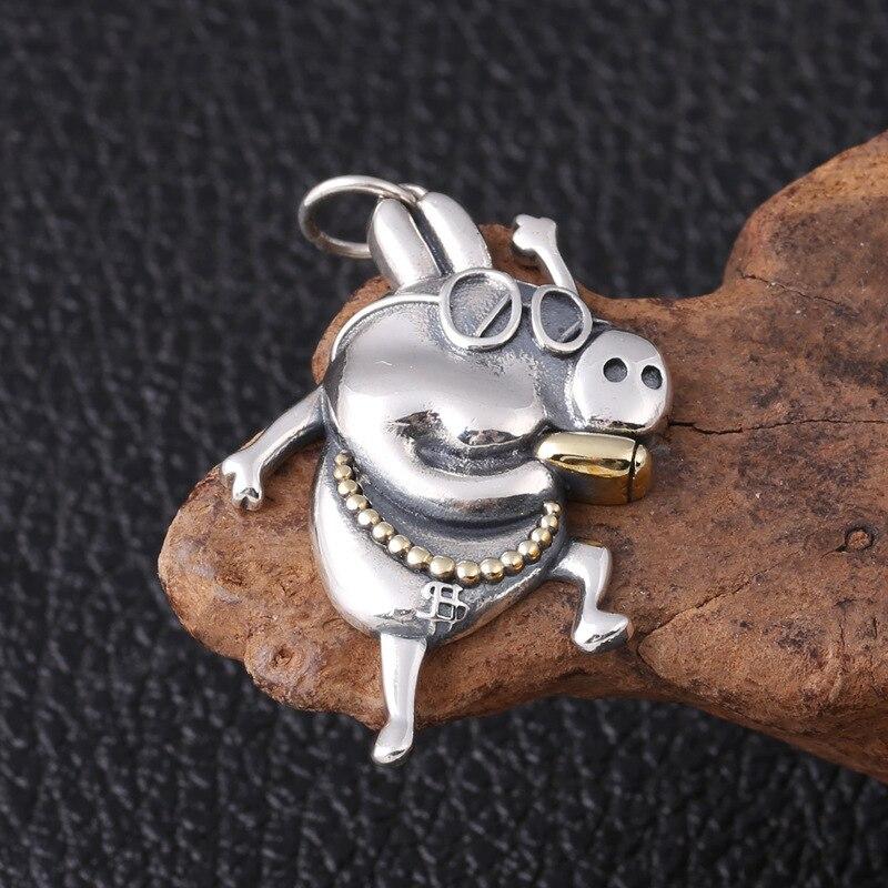 Wholesale s925 pure silver fashion silver social pig silver ornament male ms pendant Wholesale s925 pure silver fashion silver social pig silver ornament male ms pendant