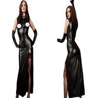 Sexy Women Black Clubwear Nightclub Wet Look Exotic Vinyl Synthetic Leather Dress High Slit Long Dresses