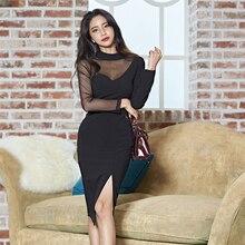 Сексуальное черное Сетчатое лоскутное платье-карандаш для женщин, весна, прозрачная хип-хоп посылка, женские платья с разрезом, бодикон, Vestidos femme