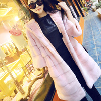 Pink Women Fur Coat Jacket Leather Female Winter Faux Fur Coats Long Luxury Outerwear Faux Mink Warm Coat Hooded Loose Overcoat
