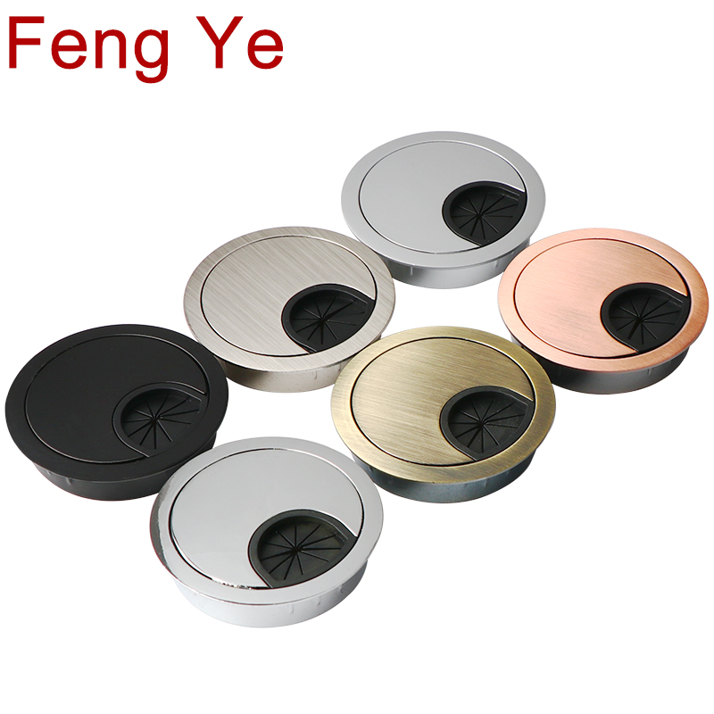 Feng Ye Zinc Alloy Desk Wire Hole Cover Base Computer Grommet Table Cable Outlet Port Surface Line Box Furniture Hardware