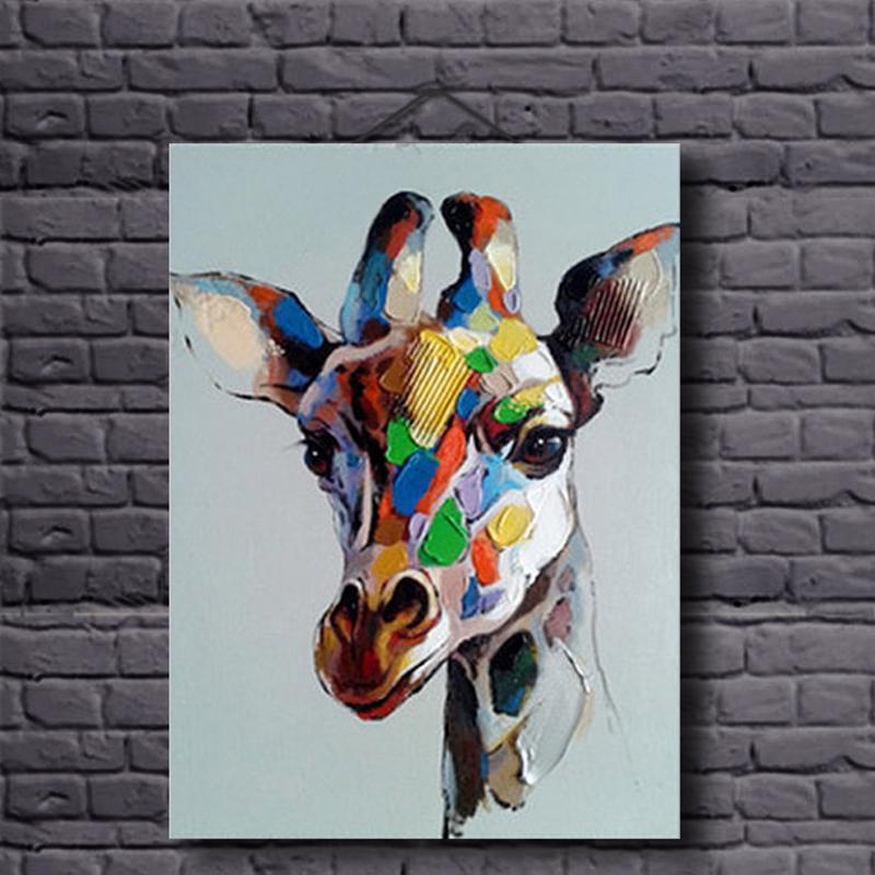 Ručně malované plátno olejomalby barevné žirafa pro domácí dekor zvířecí moderní olejomalba na plátně bez rámečku pro dětský pokoj