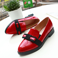 Women's Comfort Flats Shoes Real Leather Pointed Toe Sweet Bowtie Korean Style Female Footwear Chaussure Femme Loafers Moccasins