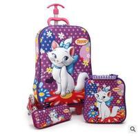 3D Kids Rolling School Bags For Girls Trolley Suitcase Children Travel Suitcase School Mochila Kid S