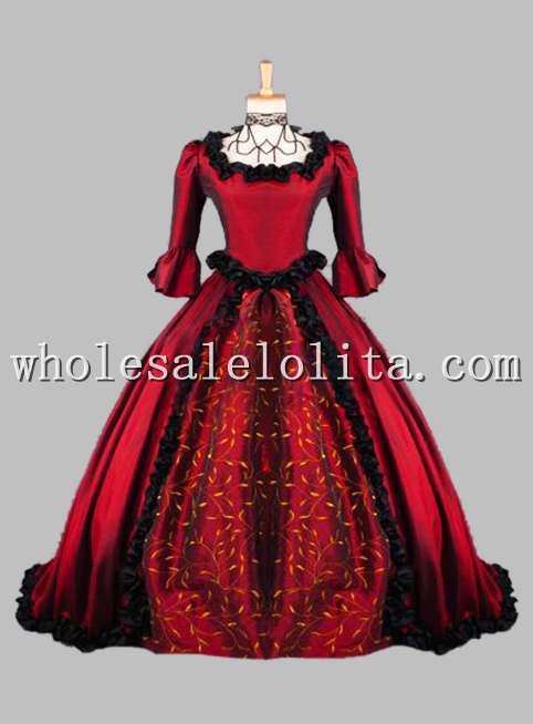 Gothic Wine Red Printing Victorian Era Gown Historical Stage Costume Historical Halloween Costume