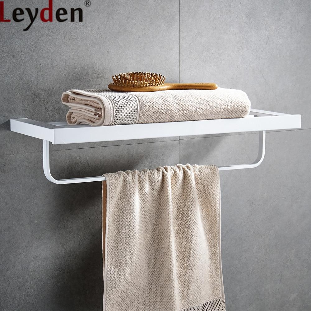 Leyden Stainless Steel White Bathroom Shelf Wall Mounted Dual Tier Bath Towel Racl Towel Shelf For Bathroom Accessories стоимость