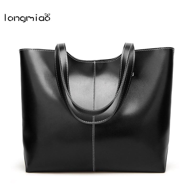 Longmiao Shoulder Bag Women Bag 2018 Luxury Tote Bag Designs Large Capacity Oil Wax Leather Shopper Handbag Sac Femmes Marqu