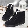 2016 nueva llegada de la nieve botas de mujer plana de arranque para mujer espesar felpa caliente zapatos de mujer de invierno de encaje casual de las señoras de zapatos grandes del tamaño 42