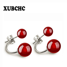 XUBCHC 2 Color Korean Style Double Round Red Bead Silver White Earrings Black Stone Earring Fashion Jewelry for Women Best Gift