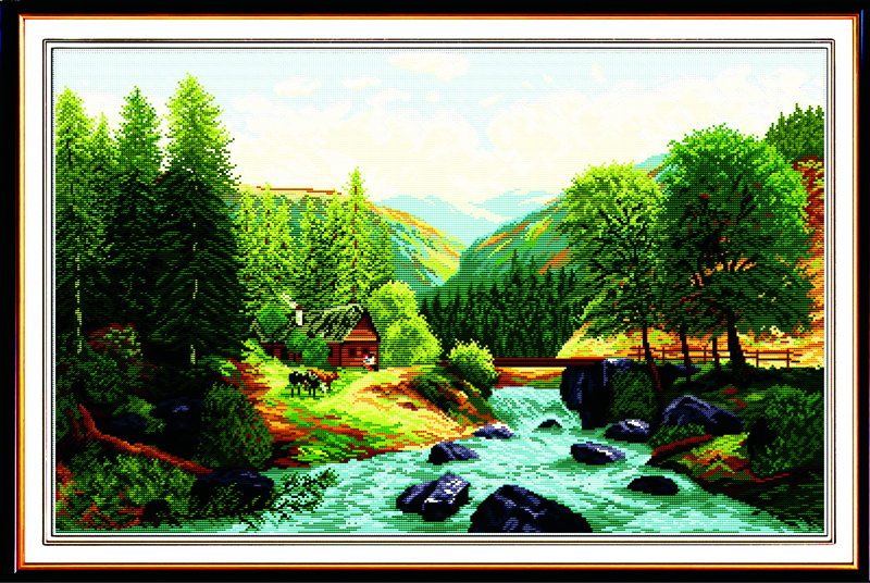 Bridge,River,Home Cross Stitch Kits 11CT Printed 14CT Cross Stitch Set DIY Chinese Cross-stitch Counted Embroidery Needlework