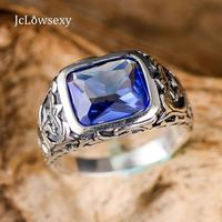 100% Pure 925 Sterling Silver Rings For Men Blue Natural Crystal Stone Mens Ring Vintage Hollow Engraved Flower Jewelry Gift