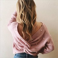 Pearl Criss Cross Knitting Pullovers Sweater Women Deep V Sexy Back Loose Irregular Long Sleeve Sweaters Ladies Girl Outerwear